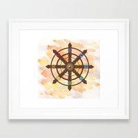 buddhism Framed Art Prints featuring Buddhism Dharma Wheel by Rachael Amber
