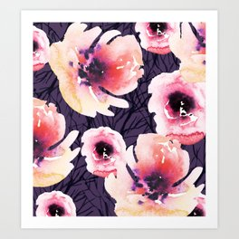 Roses on Sticks with Purple Art Print