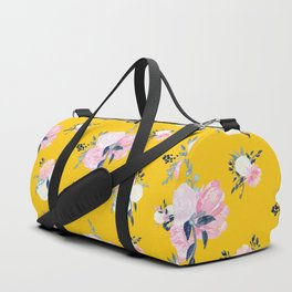 Spring Florals on Mustard Yellow Duffle Bag