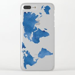 Map - Blue World Map Watercolor Clear iPhone Case