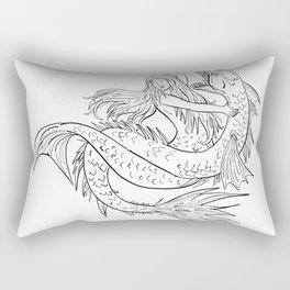 Mermaid Fighting a Sea Serpent Drawing Black and White Rectangular Pillow