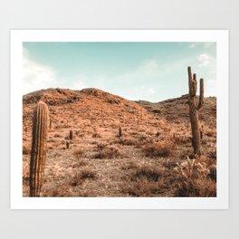 Saguaro Mountain // Vintage Desert Landscape Cactus Photography Teal Blue Sky Southwestern Style Art Print