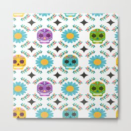Day Of The Dead Pattern Metal Print