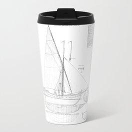 Vintage black & white sailboat blueprint drawing antique nautical beach or lake house preppy decor Travel Mug