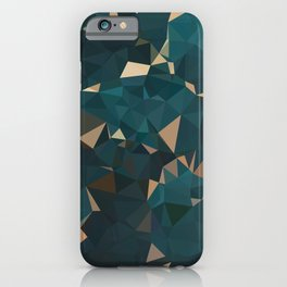 Gold Teal Abstract Low Poly Geometric Triangles iPhone Case