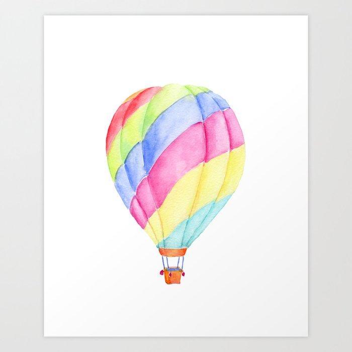 Watercolor Colorful Hot Air Balloon Art Print By Chengjing