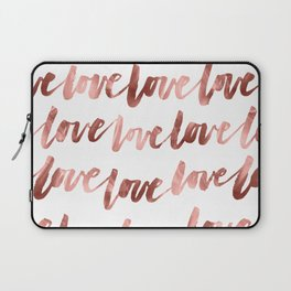 Love Script Rose Gold Typography Pattern 2 Laptop Sleeve