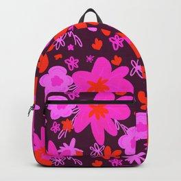 NEON BURGUNDY FLOWERS Backpack