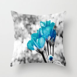 Turquoise FloWERS Pop of Color Throw Pillow