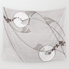 Two Moons Stencil,19th century Japan Wall Tapestry