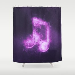 Beamed Eight music note symbol. Abstract night sky background Shower Curtain