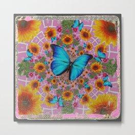 GRUNGY SUNFLOWER & BLUE BUTTERFLIES  PINK PATTERN Metal Print