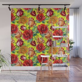 Botanical red orange yellow hand painted roses pattern Wall Mural