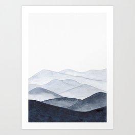 Watercolor Mountains Art Print