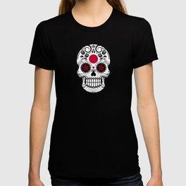 Sugar Skull with Roses and Flag of Japan T-shirt