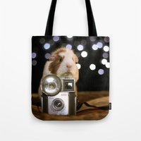 guinea pig Tote Bags featuring Guinea Pig Photographer  by The Wheekly