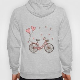 Retro vintage bicycle print with heart shaped balloons Hoody