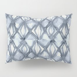 Braided Diamond Indigo Blue on Lunar Gray Pillow Sham