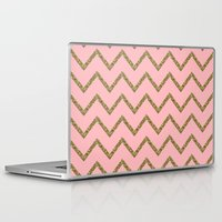 gold glitter Laptop & iPad Skins featuring Gold & Pink Glitter Chevron by Stay Inspired