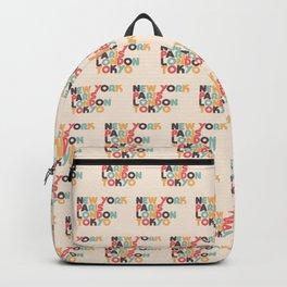 New York Paris London Tokyo Typography - Retro Rainbow Backpack
