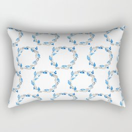 Blue and Gray Watercolor Leaf Wreath Rectangular Pillow