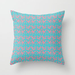 Pink Coral and Bright Teal Damask large pattern Throw Pillow