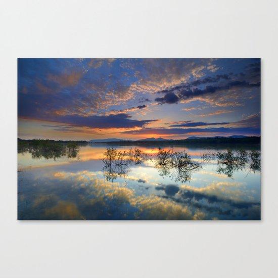 Magic reflections. Sunset at the lake Canvas Print