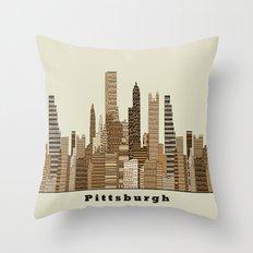 Pittsburgh skyline vintage Throw Pillow