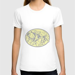 American Revolutionary Soldiers Marching Oval Mono Line T-shirt