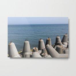 Offshore breakwater tetrapod blocks Metal Print