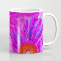 Bright Pink Sketch Flowers Mug