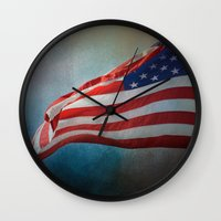 american flag Wall Clocks featuring American Flag by Jai Johnson