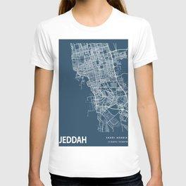 Jeddah Blueprint Street Map, Jeddah Colour Map Prints T-shirt