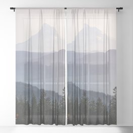 Mount Hood over the Columbia River Gorge Sheer Curtain