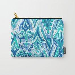 AQUA FRINGE TRIBAL Ikat Watercolor Carry-All Pouch