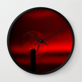 sunset, moon and flight limiting lights Wall Clock