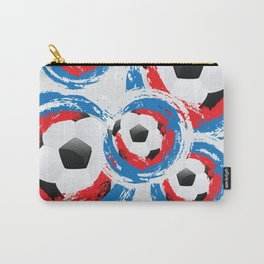 Football Ball and red, blue, white Strokes Carry-All Pouch