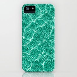 blue green clear water with shadows of small waves. pool. lagoon. poster of  pastel color. iPhone Case