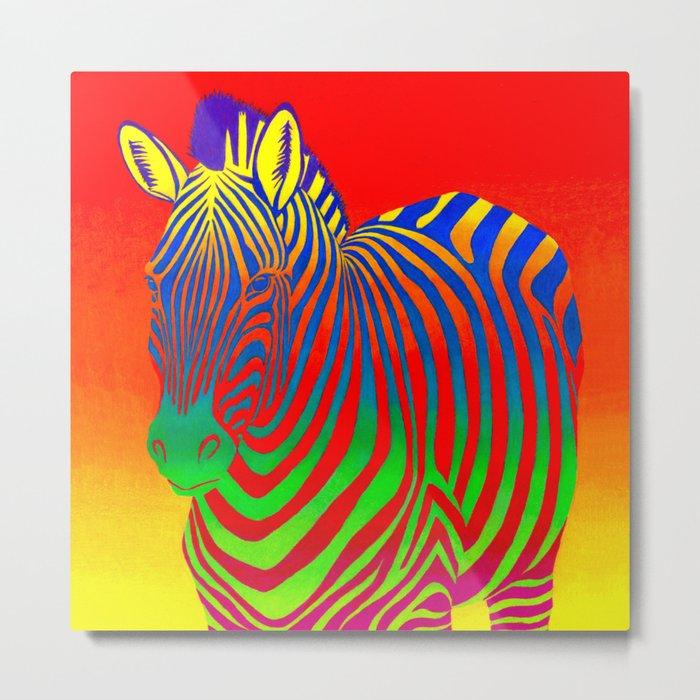 Colorful Psychedelic Rainbow Zebra Metal Print