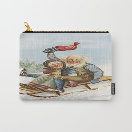 Vintage Christmas : Older Couple Wintry Fun 1890 Carry-All Pouch
