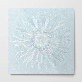 Mandala, Sunflower Prints, Teal Blue Metal Print