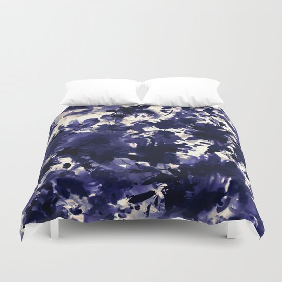 abstract floral in deep blue and black Duvet Cover