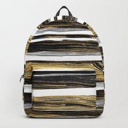 Geometric elegant black silver gold brushstrokes painting Backpack