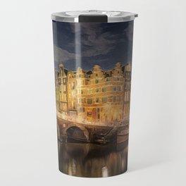 Night on the Amsterdam Waterways | painting Travel Mug