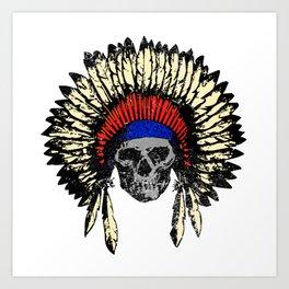 American indian. skull of chieftain Amerindian Art Print