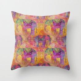 Elephant Pattern colorful orange pink Throw Pillow