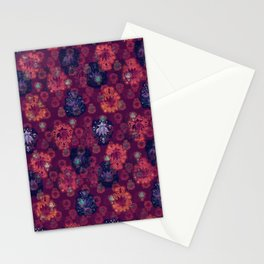 Lotus flower - fire on mulberry woodblock print style pattern Stationery Cards
