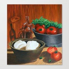 Morzarella And Tomatoes Canvas Print