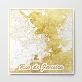 Rio de Janerio Map Gold Metal Print