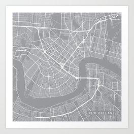 New Orleans Map, Louisiana USA - Pewter Art Print